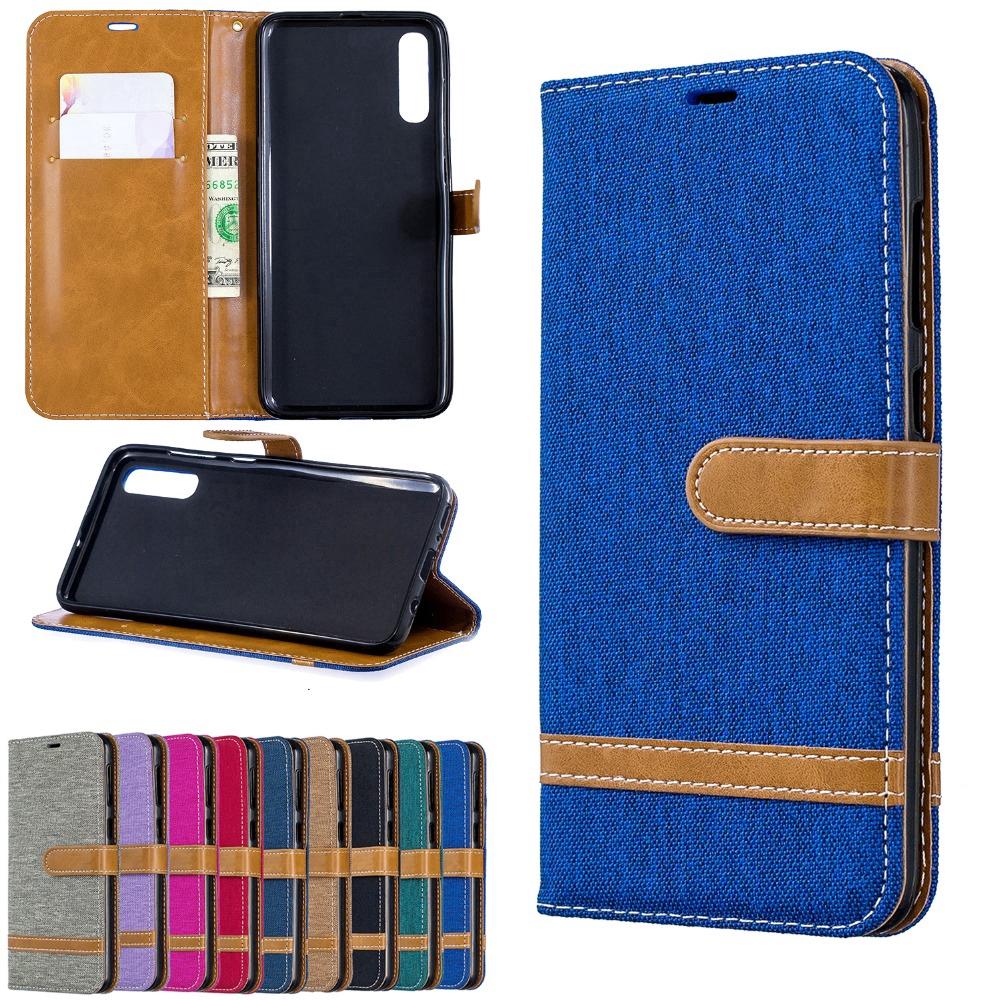 Denim Series Samsung Galaxy A70 A50 A40 A30 A20 A10 Matte Leather Cover Samsung Galaxy M30 Double Splicing Phone Case