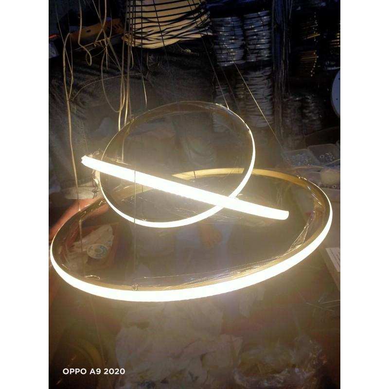 Đèn Led Thả Trần 3 Vòng Viền Vàng- Điều Khiển Từ Xa