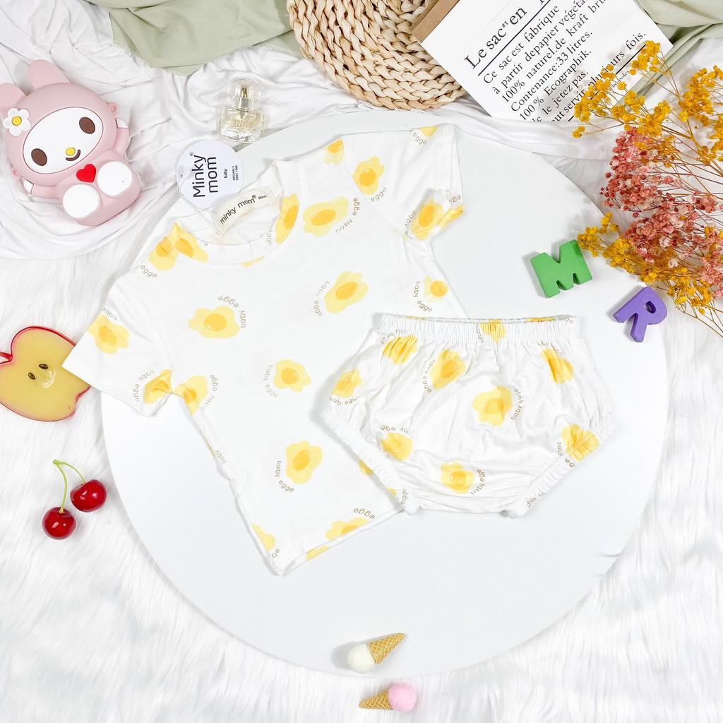 Bộ Ngắn Tay Quần Chip THUN LẠNH MINKY MOM In Hình Toàn Thân Họa Tiết Trái Cây Cho Bé TN-IN41