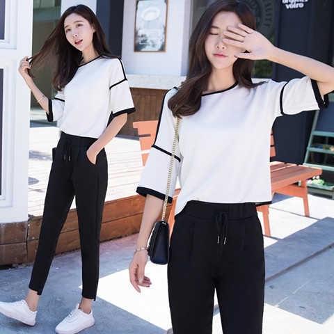 set áo thun tay ngắn phối quần dài phong cách hàn quốc cho nữ - 14920111 , 2565780033 , 322_2565780033 , 331200 , set-ao-thun-tay-ngan-phoi-quan-dai-phong-cach-han-quoc-cho-nu-322_2565780033 , shopee.vn , set áo thun tay ngắn phối quần dài phong cách hàn quốc cho nữ