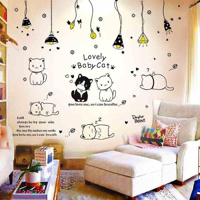 Decal dán tường Combo dây đèn thả + mèo đáng iu