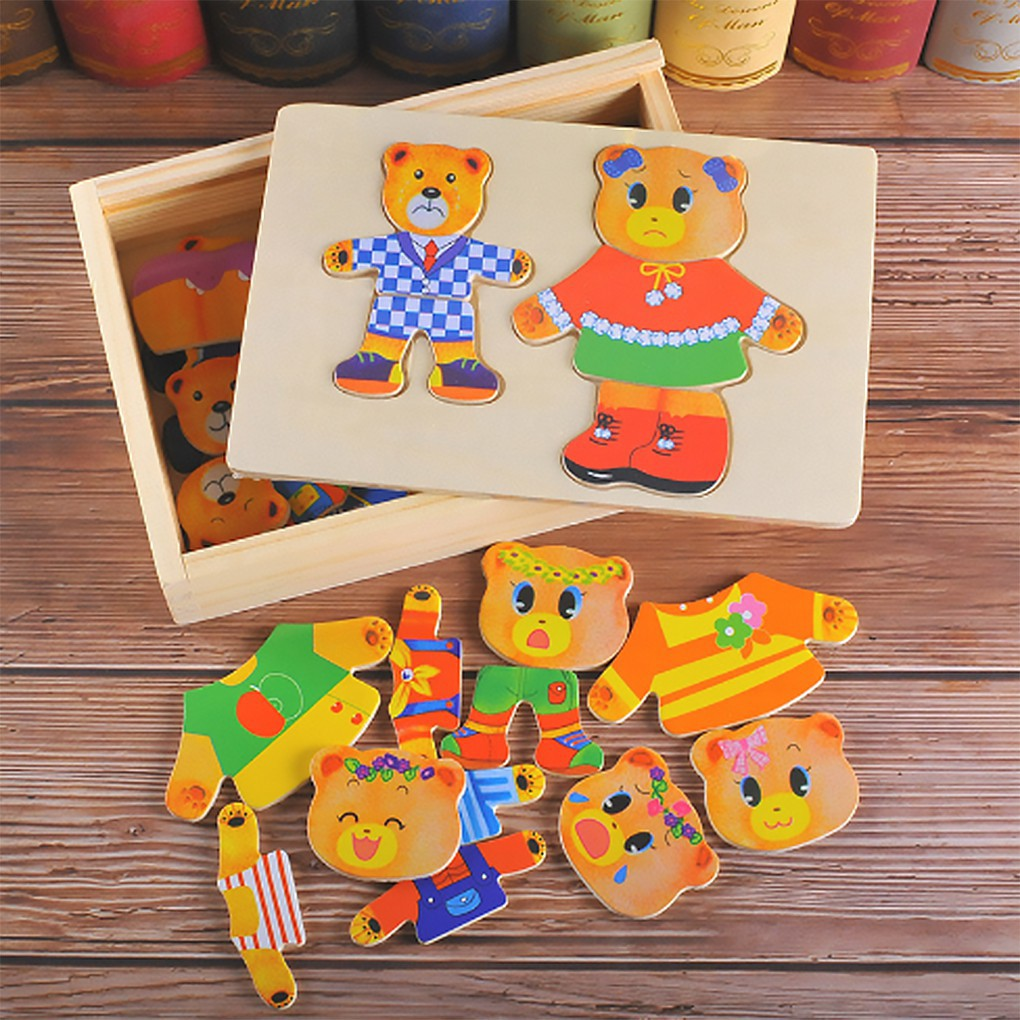 Cute Wooden Puzzle Set Baby Educational Toys Cartoon Bear Changing Clothes_FF86