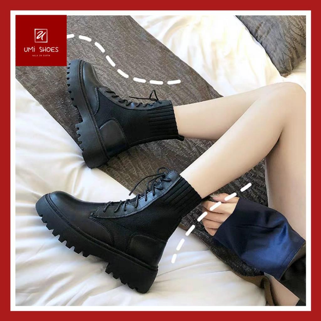 Giày bốt da bò nữ Ulzzang cổ cao phối len ôm chân mềm êm mẫu mới cá tính đơn giản bền đẹp đế cao 3cm đi chơi đi học