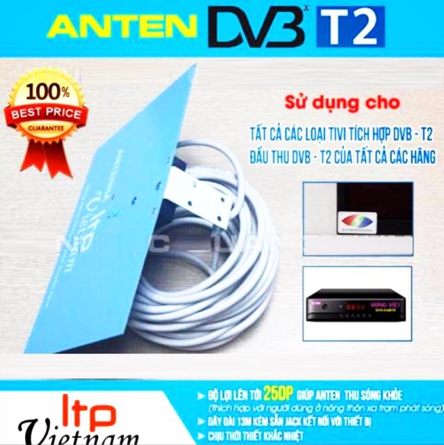 Anten bảng Xanh thu truyền hình kỹ thuật số mặt đất DVB T2 - DVB T2 HDG kèm dây 13 mét - Anten DVB T2