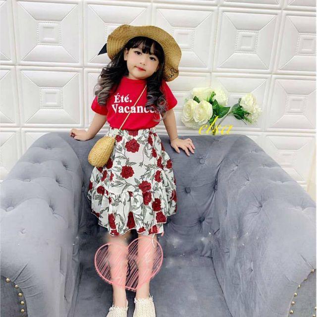 Sét váy hoa đỏ