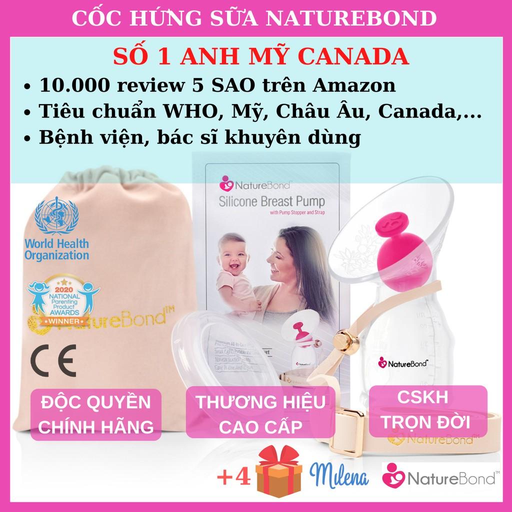 [New Model 2020] Cốc Hứng Sữa NatureBond - Cải Tiến Mới -  Số 1 Anh, Canada và Mỹ + Dây Da Cao Cấp Chống Rơi Do Con Đạp