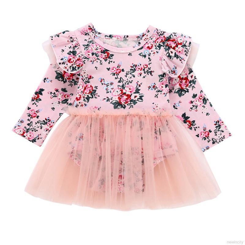 Set áo liền quần họa tiết hoa tay dài cho bé gái