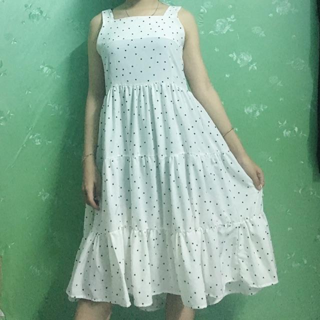 Váy 2 dây chấm bi tầng