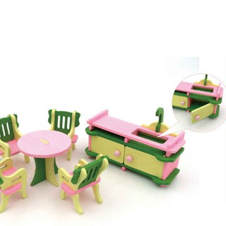 Simulation Baby Wooden Toys Miniature Furniture House Set Room Kitchen Tabl-ff86