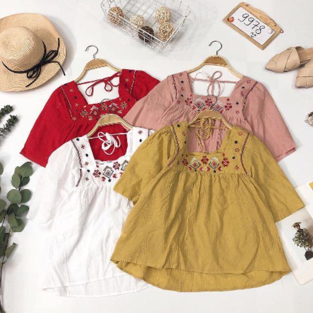 Áo baby doll cổ vuông hoạ tiết xinh yêu 🍒