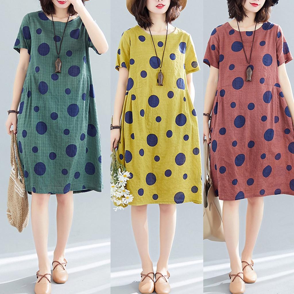 Đầm Tay Ngắn Cổ Tròn Chất Cotton Linen Phong Cách Retro