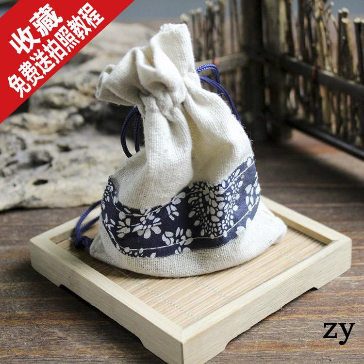 Dasheng Photography Antique Chinese Style Blue and White Porcelain Bags Tea Antiques Shooting Props Vintage Photo Props