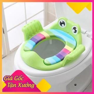 Bệ ngồi bồn vệ sinh có đệm mềm hình chú ếch tròn có tay cầm giúp bé tập đi vệ sinh cho bé trai bé gái A12