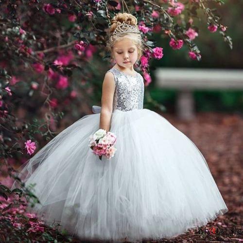 Đầm công chúa dự tiệc phối ren lấp lánh cho bé gái