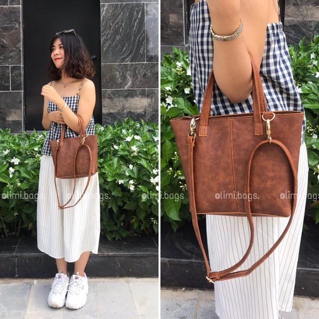 Túi xách nữ thời trang Mini tote da mềm đẹp cao cấp phong cách Hàn Quốc Vintage công sở đi chơi đi làm Limi bags