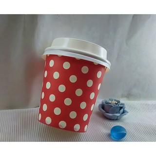 50 Ly Giấy 7oz 180ml In Hình Chấm Bi Đỏ Có Nắp Ly giấy uống nước Ly giấy size nhỏ Ly giấy cafe Cốc giấy thumbnail