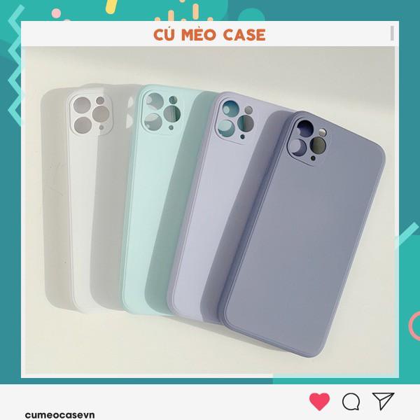 Ốp basic lót nỉ dẻo bảo vệ camera màu pastel dành cho iPhone 11 Pro Max 7 8 Plus X XsMax XR Cú Mèo Case