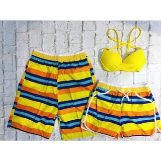 Cặp quần nam nữ đi biển họa tiết sọc vàng cam kèm áo gọng vàng đẹp