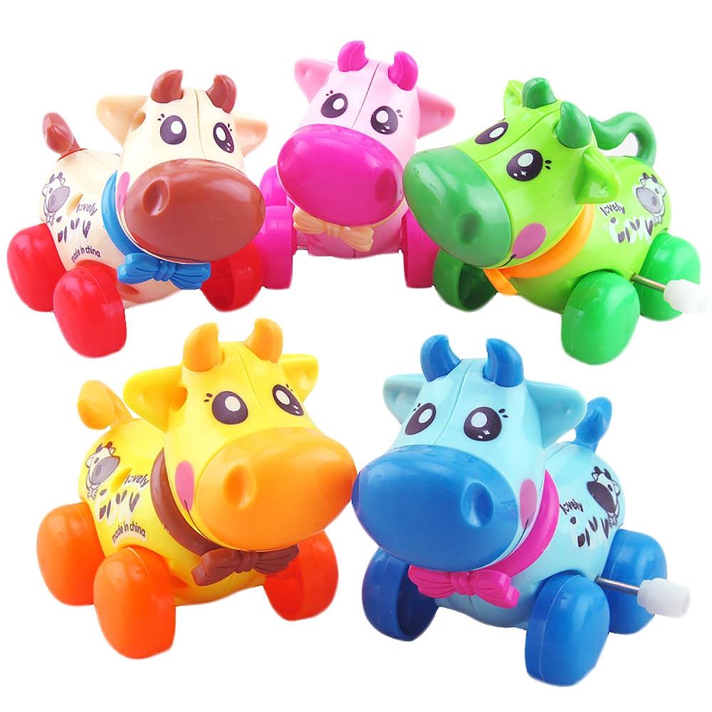 MMRM Cute Plastic Wind Up Clockwork Running Animal Cow Baby Kids Toys