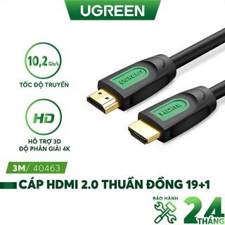 Dây HDMI 2.0/ 1.4 thuần đồng 100%, 19+1 dùng cho tivi, máy tính, máy chiếu, màn hình, độ dài từ 1-15m UGREEN HD101
