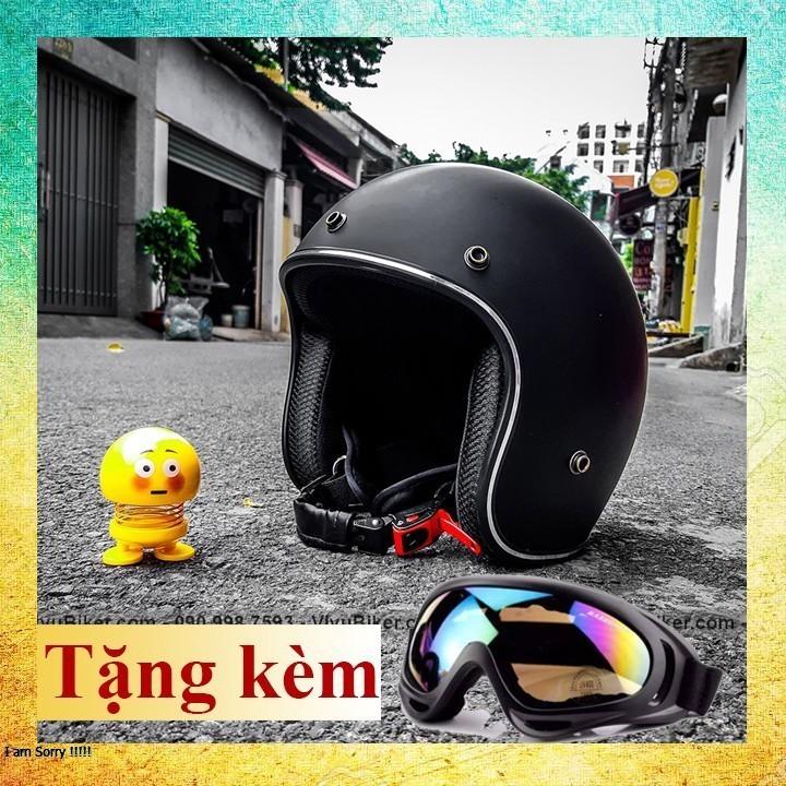 COMBO Nón bảo hiểm 3/4 trắng lót cam kèm kính uv - Mũ bảo hiểm 3/4 đi phượt kèm kính nhiều màu sắc giá rẻ