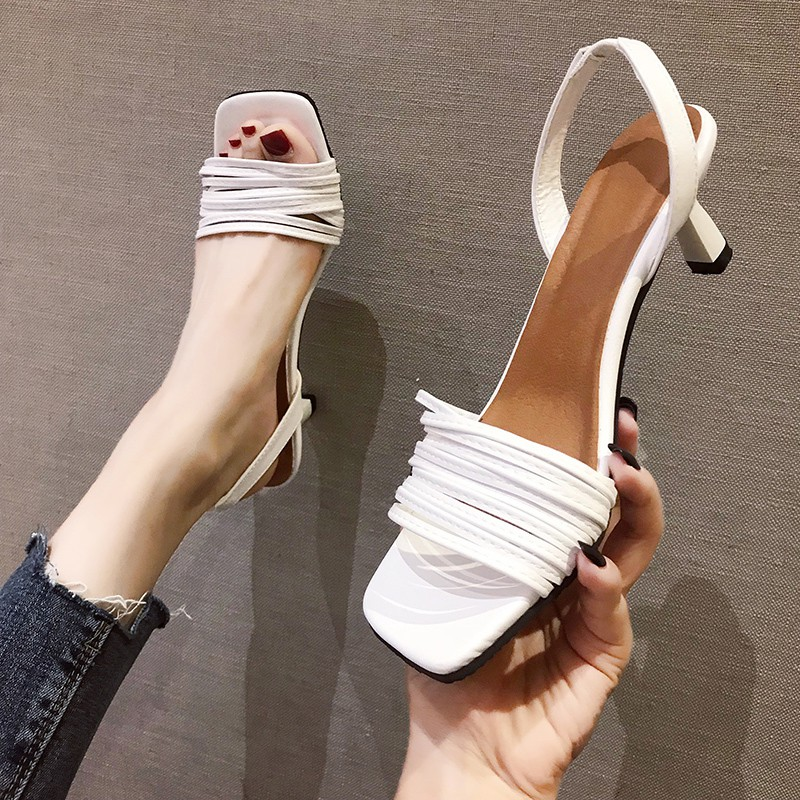 le summer 2019 new wild students open toe dress shoes chic fairy wind high heels