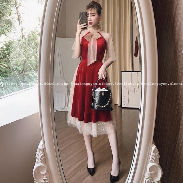 Váy đỏ fa ren