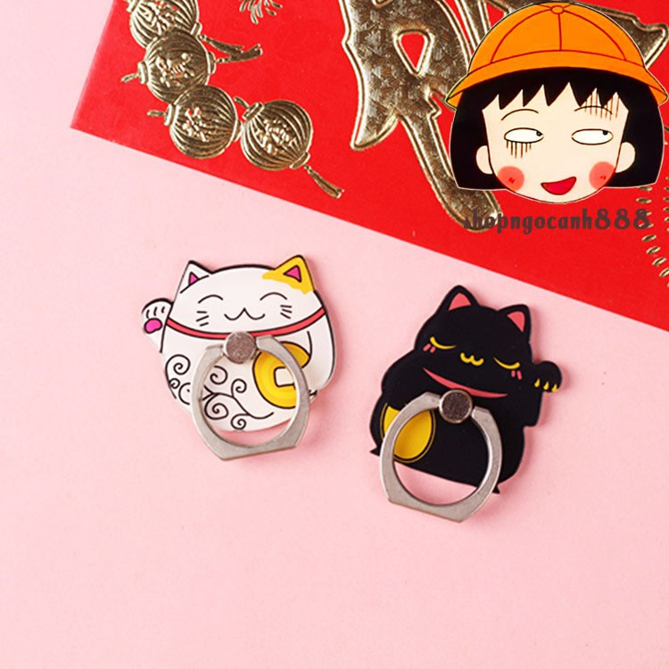 [Full hộp] Iring Giá Đỡ Điện Thoại Chiếc Nhẫn Hình Mèo Thần Tài Siêu Bám Dính Không Lo Bong Tróc !