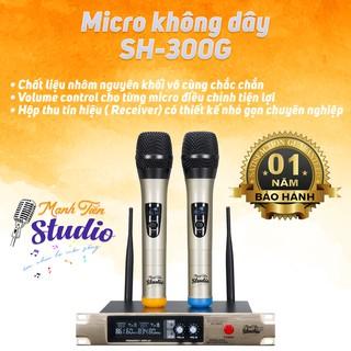 [HÁT CỰC NHẸ-CHỐNG HÚ CAO] Bộ 2 micro karaoke không dây SH 300G cao cấp, cho karaoke gia đình dễ lắp đặt và dễ sử dụng