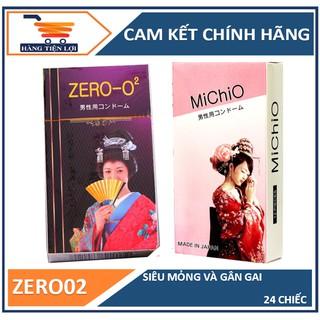Bộ 2 hộp bao cao su Nhật siêu mỏng ZERO0.02 và Bao cao su gân gai nhám Michio