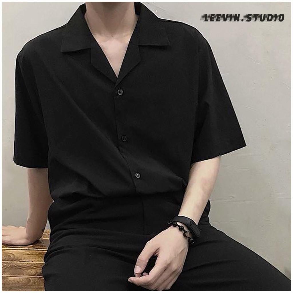 Áo sơ mi tay ngắn Cổ Vest trắng đen Unisex Nam Nữ TRƠN vải Cotton lụa mềm Ngắn tay form rộng Leevin Store