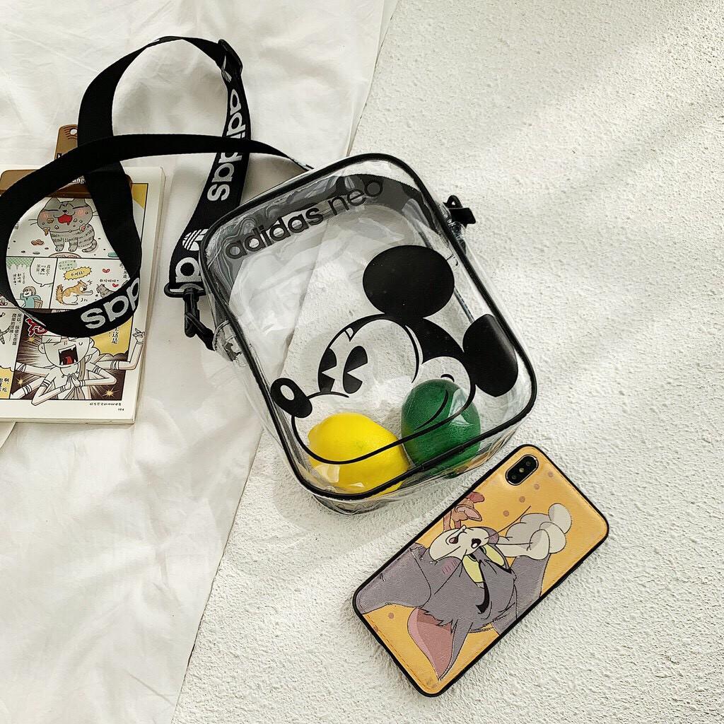 [SIÊU HOT] Túi đeo chéo 🔥 FREESHIP 🔥 Túi đeo chéo nam nữ trong suốt hình chuột Mickey cho ngày hè