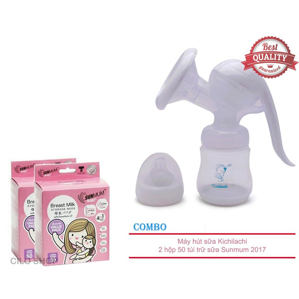 Bộ 01 dụng cụ hút sữa bằng tay kiêm bình bú Kichilachi và 02 Hộp 50 túi trữ sữa SunMum