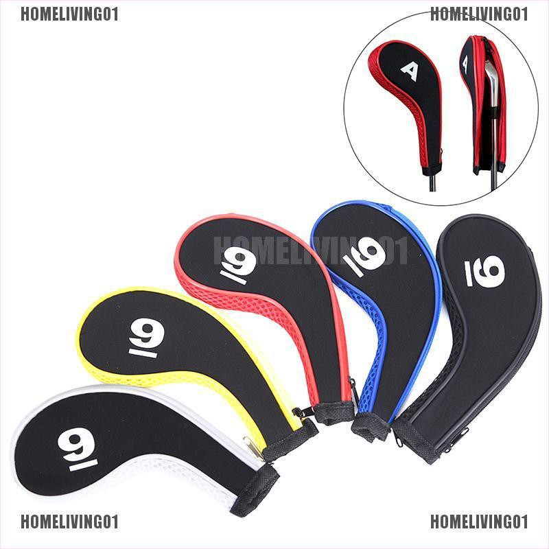【homeliving01】10PCS Golf Club Head Cover Iron Putter Headcover Protect Set Num