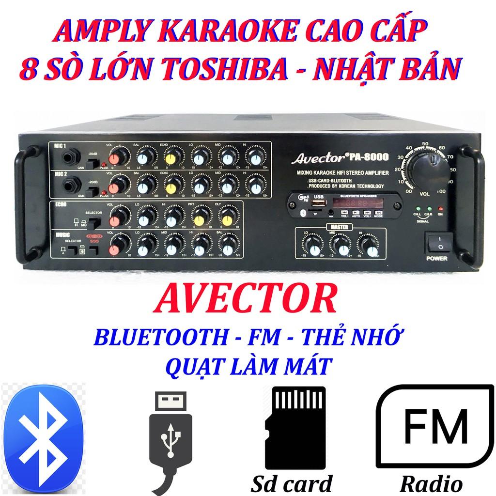 Máy tăng âm Amply karaoke amply bluetooth nghe nhạc amply hát karaoke AVECTOR 8 0 0 0