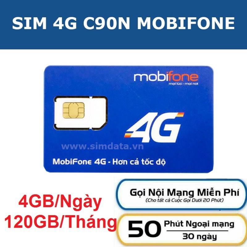 [Có Sẵn Tháng Đầu] Sim 4G Mobifone C90N Tặng 120Gb Miễn Phí 1000 Phút Gọi Nội Mạng, 50 Phút Ngoại Mạng