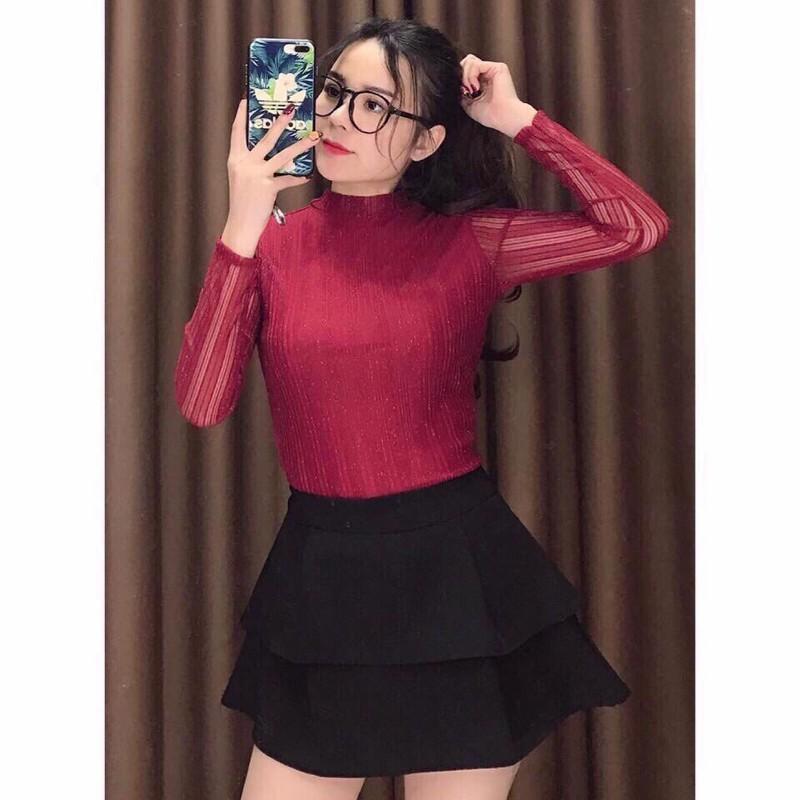 Áo nhũ dài tay sọc siêu mịn - Cực xinh   SaleOff247