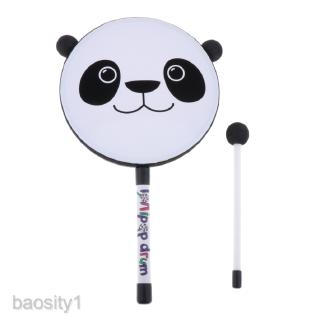 Panda Hand Held Tambourine, Percussion Drum Toy, Hand Bell Instrument, Kids Early Educational Toys