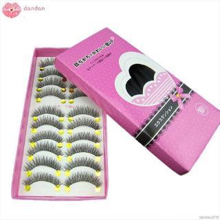 dandan 10 pairs set 3D False Eyelashes Soft Long Cross Eyelashes Fake Eyelashes