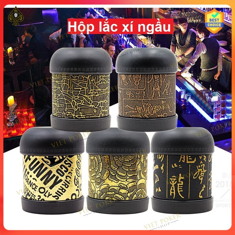 Combo Hộp lắc xí ngầu da Beer Club + 6 viên xúc xắc 6 mặt