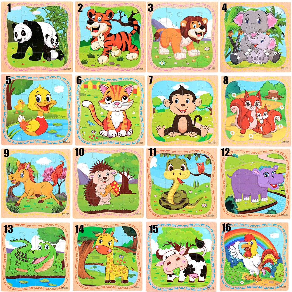 16 slice/pc Christmas Gift Children Baby Educational Kids Toy Hot Sale Intelligence 3D Puzzle Jigsaw