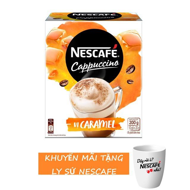 [Tặng ly sứ] Nescafe Cappuccino Vị Caramel (hộp 10 gói x 20 g)