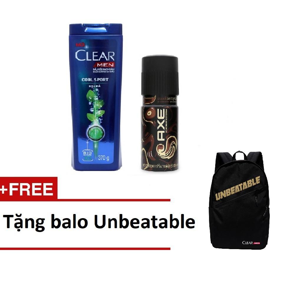 [Quà] Combo Dầu gội Clear Men 370g và Xịt khử mùi AXE Dark 150ml + Tặng 1 balo Unbeatable (MSP 67042 - 3270138 , 421246630 , 322_421246630 , 207000 , Qua-Combo-Dau-goi-Clear-Men-370g-va-Xit-khu-mui-AXE-Dark-150ml-Tang-1-balo-Unbeatable-MSP-67042-322_421246630 , shopee.vn , [Quà] Combo Dầu gội Clear Men 370g và Xịt khử mùi AXE Dark 150ml + Tặng 1 balo