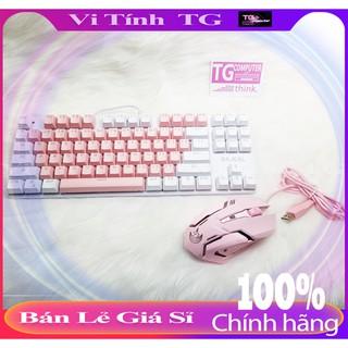 Combo Bàn phím cơ + chuột màu hồng cực đáng yêu, giá combo siêu rẻ – Tặng kèm lót chuột 5mm