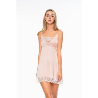DREAMY VX17 54 Váy Ngủ Lụa Cao Cấp Hai Dây Phối Ren Dáng Xòe Quyến Rũ thumbnail