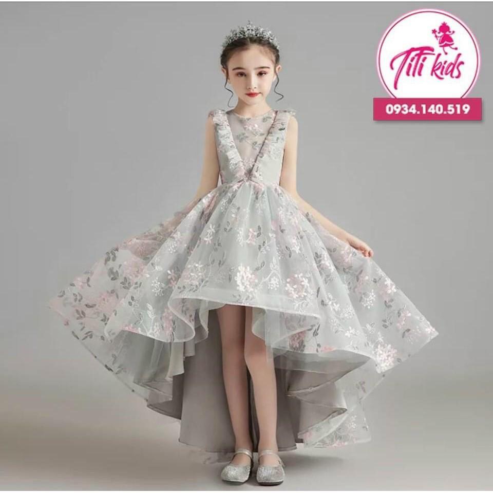 Đầm công chúa💃Freeship💃Tặng cài nơ💃Đầm bé gái cao cấp in hoa cực xinh Titikids 2020