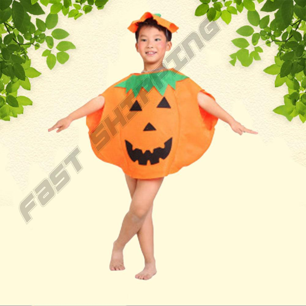 Funny Kids Pumpkin Clothes Role Play Halloween Party Costume Prop With Hat