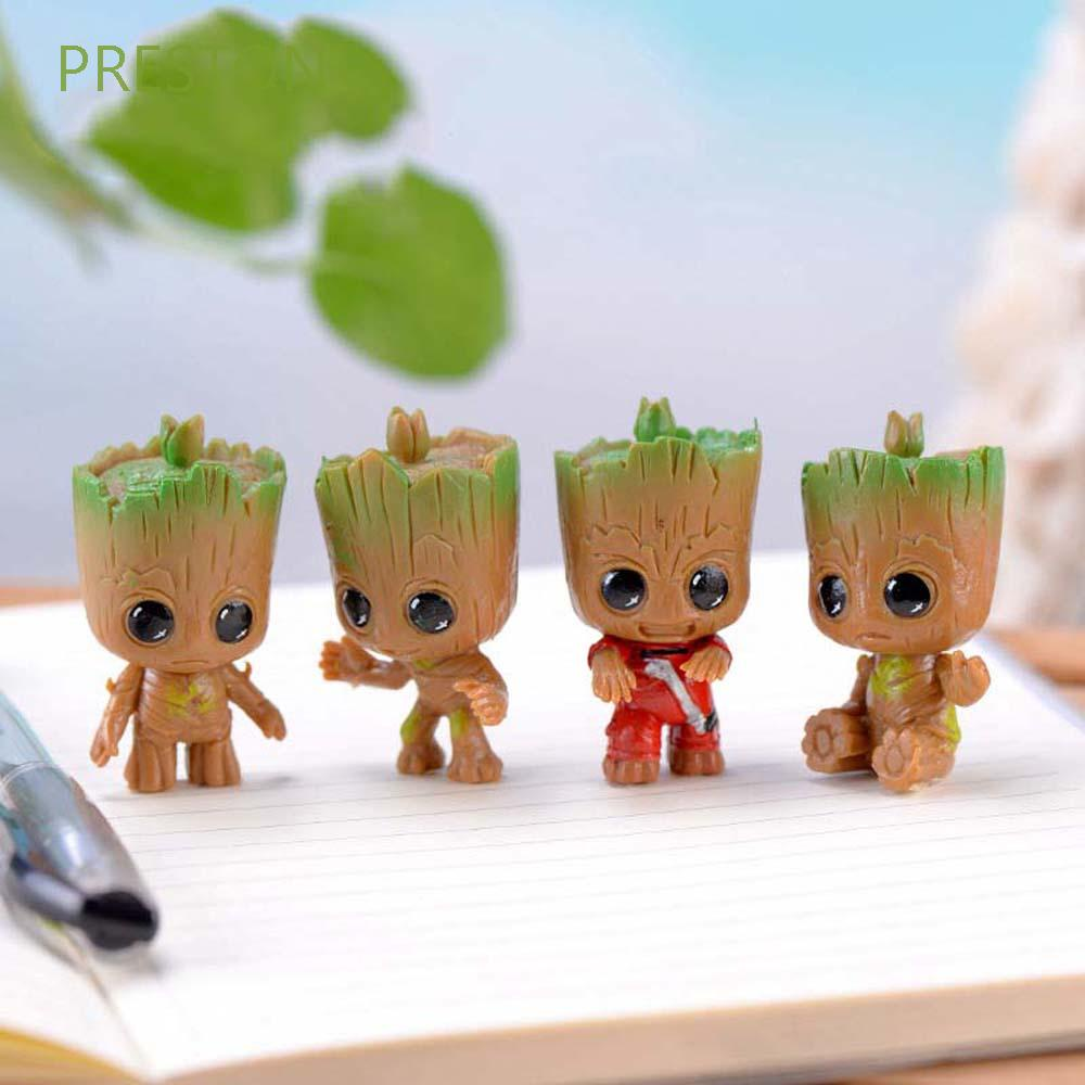 PRESTON 4pcs/set Groot Figure for Gifts Figure Toys Tree Man Groot Cute Interior Accessories Tiny Car Ornament Collectible Model Avengers Action Figure