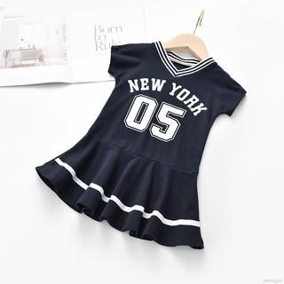 Đầm tay ngắn hoạ tiết chữ in thời trang mùa hè cho bé gái
