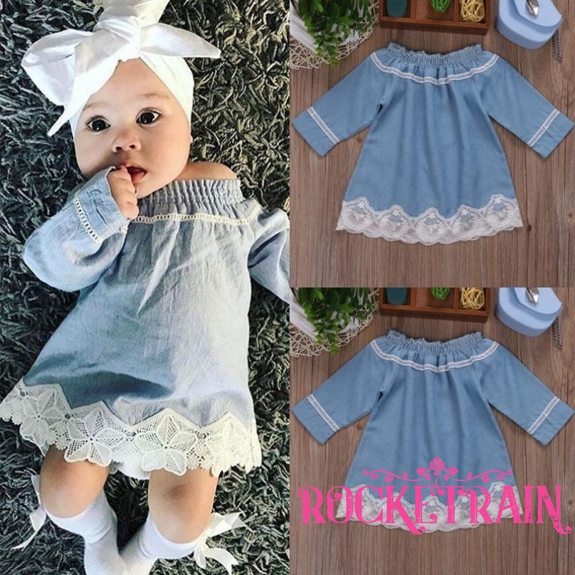 ☛☏❤AU Newborn Baby Girls Denim Off Shoulder Lace Dress Party Dresses Casual Clothes